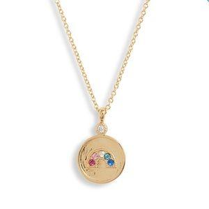 Gorjana Madison Rainbow CZ Coin Pendant Necklace